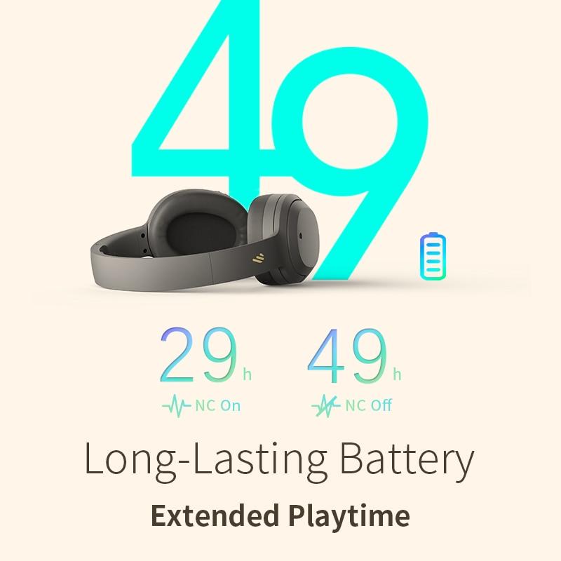 EDIFIER W820NB ANC Wireless Bluetooth Headphone Hi-Res Audio Bluetooth 5.0 40mm Driver Type-C Fast Charge Hybrid ANC 5