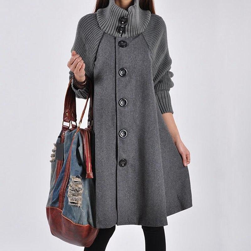 Mferlier, Женское пальто, зимняя теплая водолазка с длинным рукавом, вязанное, комбинированное, красное, серое, черное, негабаритное, 8XL, 6XL, 4XL, шик...