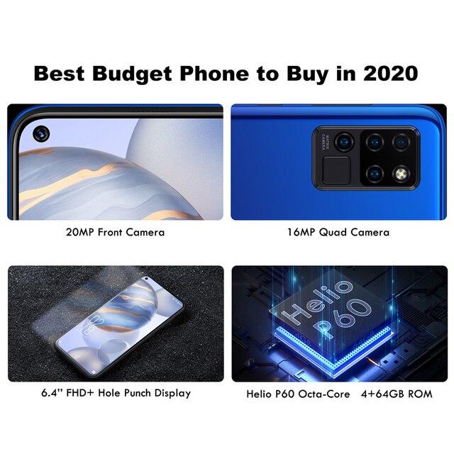 OUKITEL C21 6.4'' FHD+ Hole Punch Screen Mobile Phone 20MP Camera Helio P60 Octa Core 4GB 64GB 4G Smartphone 4000mAh 3
