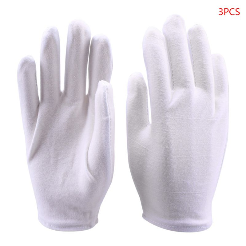 White Cotton Gloves Coin Gloves For Women Men Eczema Dry Hands Moisturizing Serving Archival Cleaning Jewelry Silver Inspection