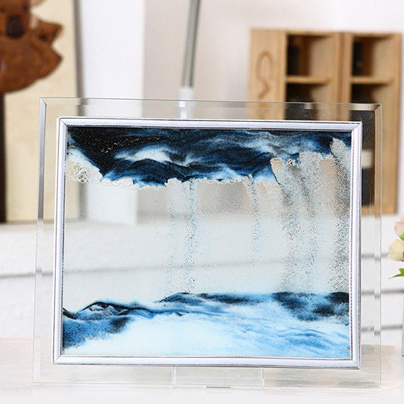 3D Dinámico Fluido arena pintura Marco de vidrio transparente dibujo paisaje visión flujo arena pintura escritorio arte decoración RT99