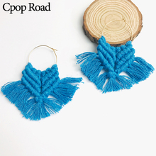 Cpop Fashion New Boho Handmade Weave Macrame Earrings Feather Fringe Tassel Hot  Sale Wedding Jewelry Women Accessories