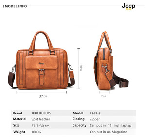 Image 3 - Jeep Buluo Big Size Mannen Aktetas Tassen Voor 14 Inch Laptop Split Lederen Business Handtas Mannelijke Schoudertas Reistas Kantoor