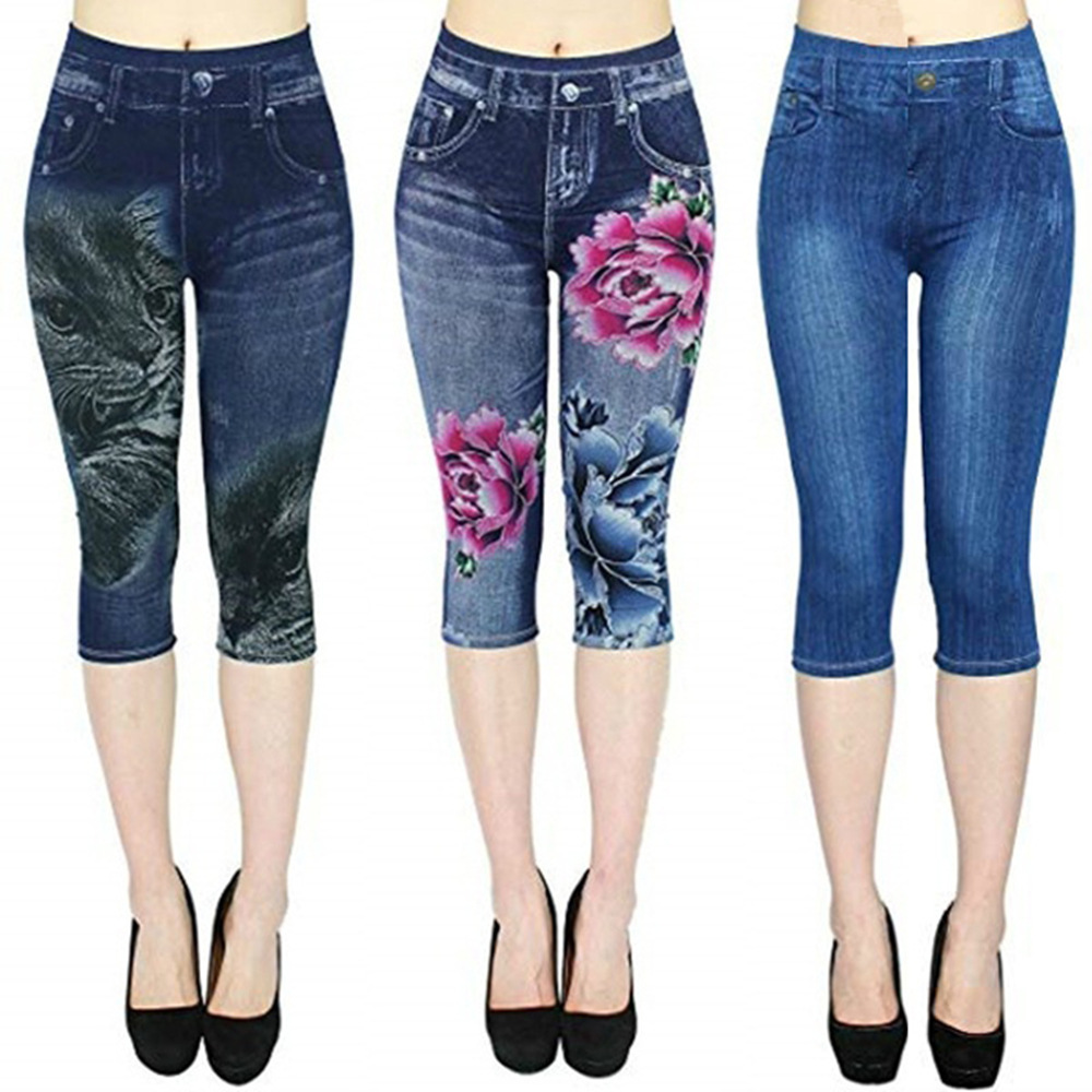 Women Plus Size Leggings Imitation Cropped Trousers 2019 New Mock Pocket Pants Slim Jeggings Denim Skinny