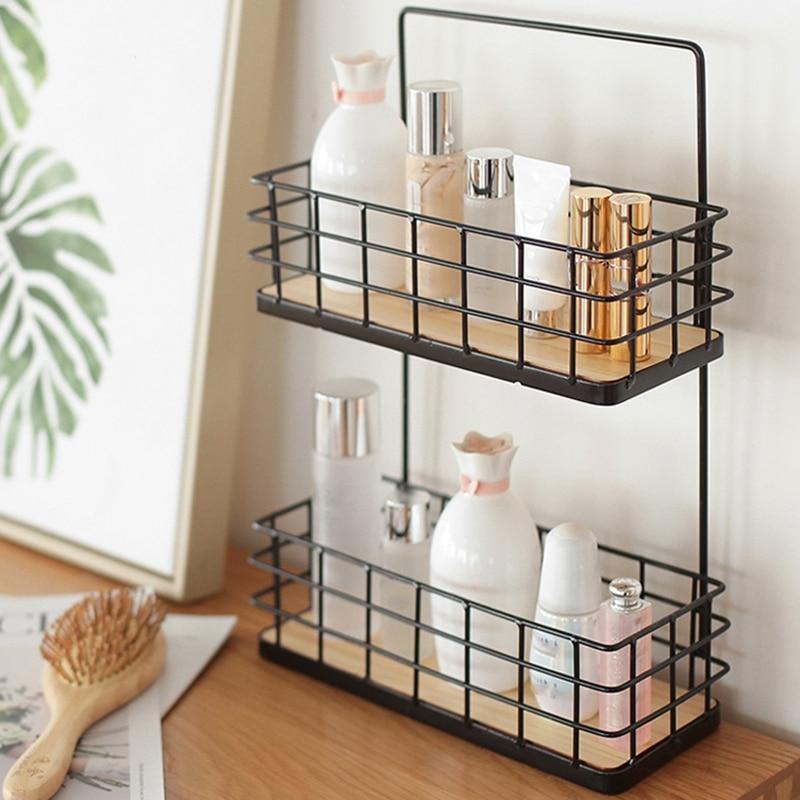 Multi-Functional Wall Mount Iron Storage Rack For Kitchen Storage Spice Jars Makeup Wall Shelf Bathroom Toiletries Organizer