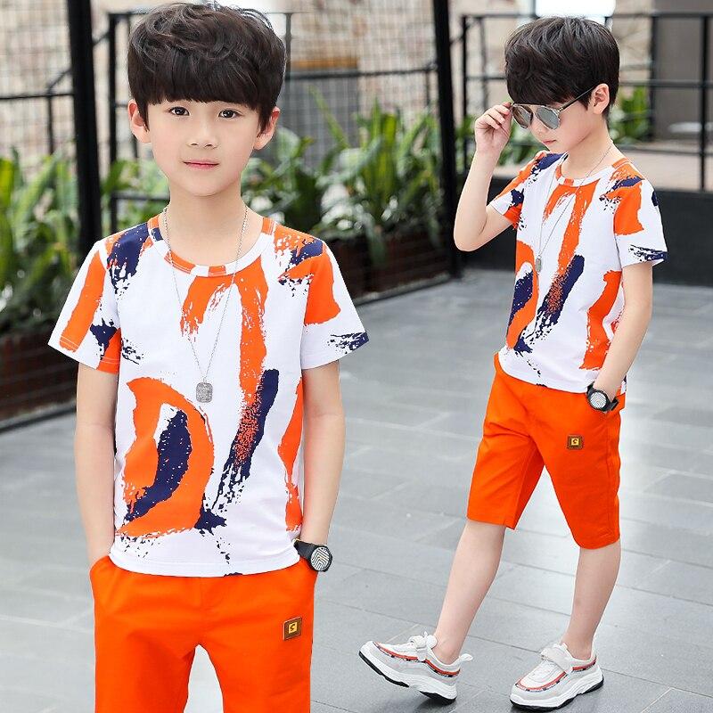 Vêtements dété pour garçons   Ensemble chemise à manches courtes, pour adolescents de 3-4-6-7-8-10-12 ans