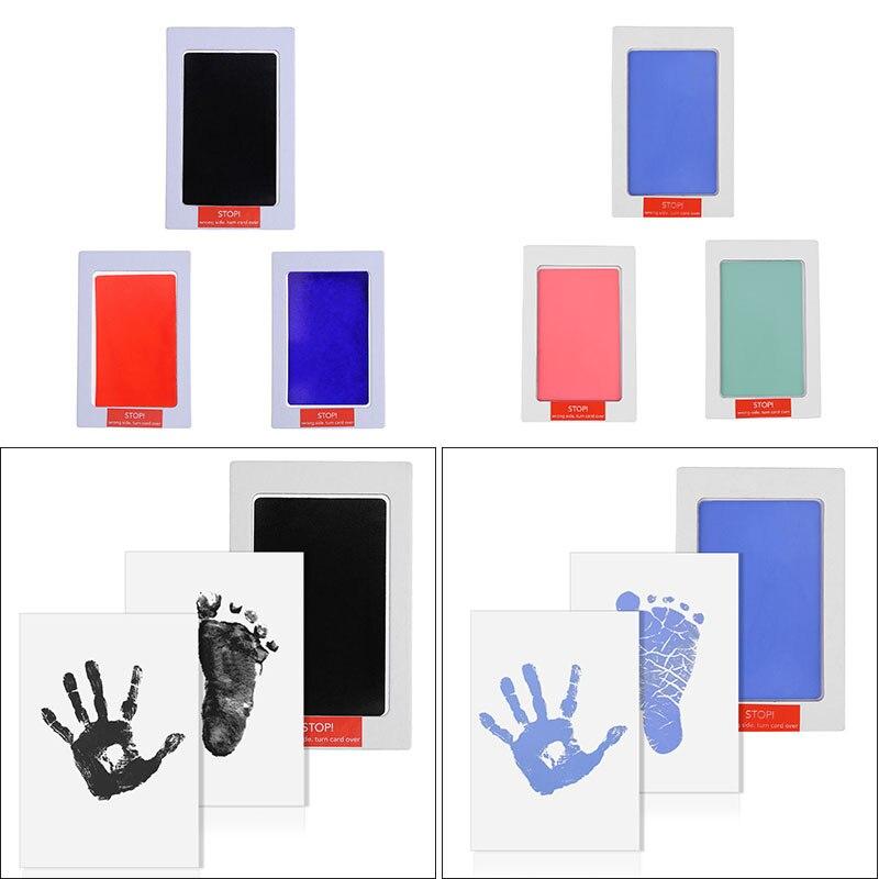 Baby Pflege Ungiftig Baby Handabdruck Fußabdruck Inkpad Kit Casting Neugeborenen Ton Spielzeug Souvenirs Schwarz Tinte Pad Infant Ton spielzeug Geschenk