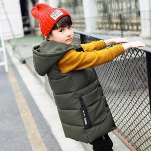 Image 2 - ベビー用ベスト 2 13T 子供ロングスタイル暖かいベスト女の赤ちゃん春綿が詰めフード付き子供暖かいジャケット十代の防寒着