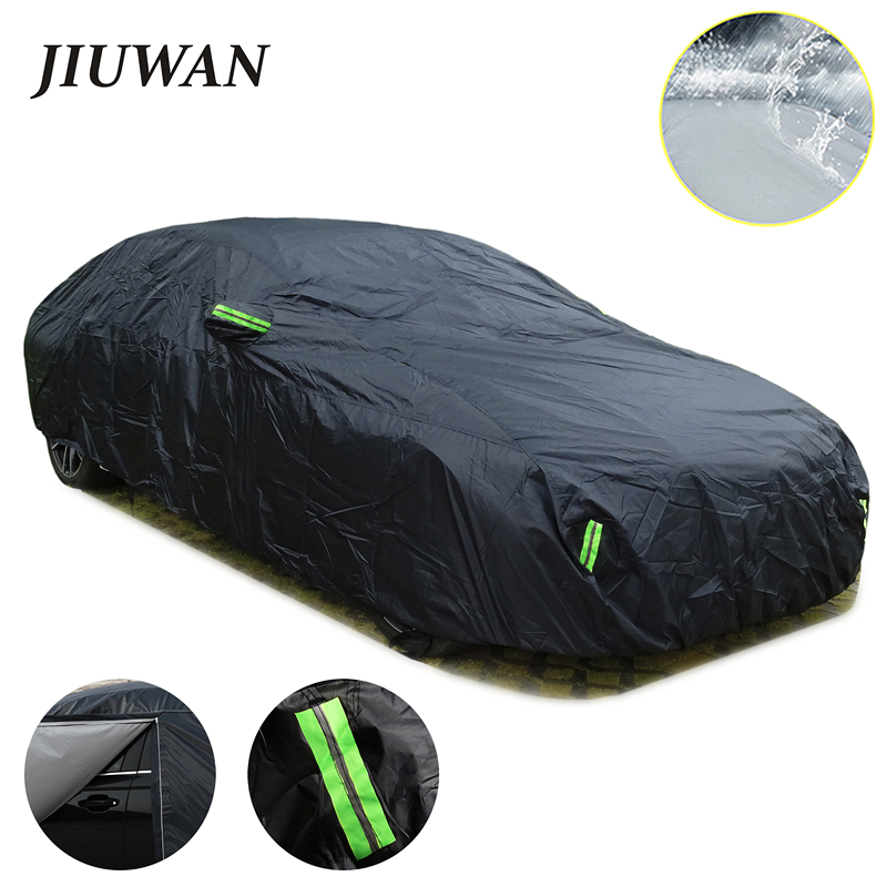 Universal SUV Sedan Full Car Covers Outdoor Waterproof Sun Rain Snow Protection UV Car Zipper Design Black Car Case Cover S-XXL