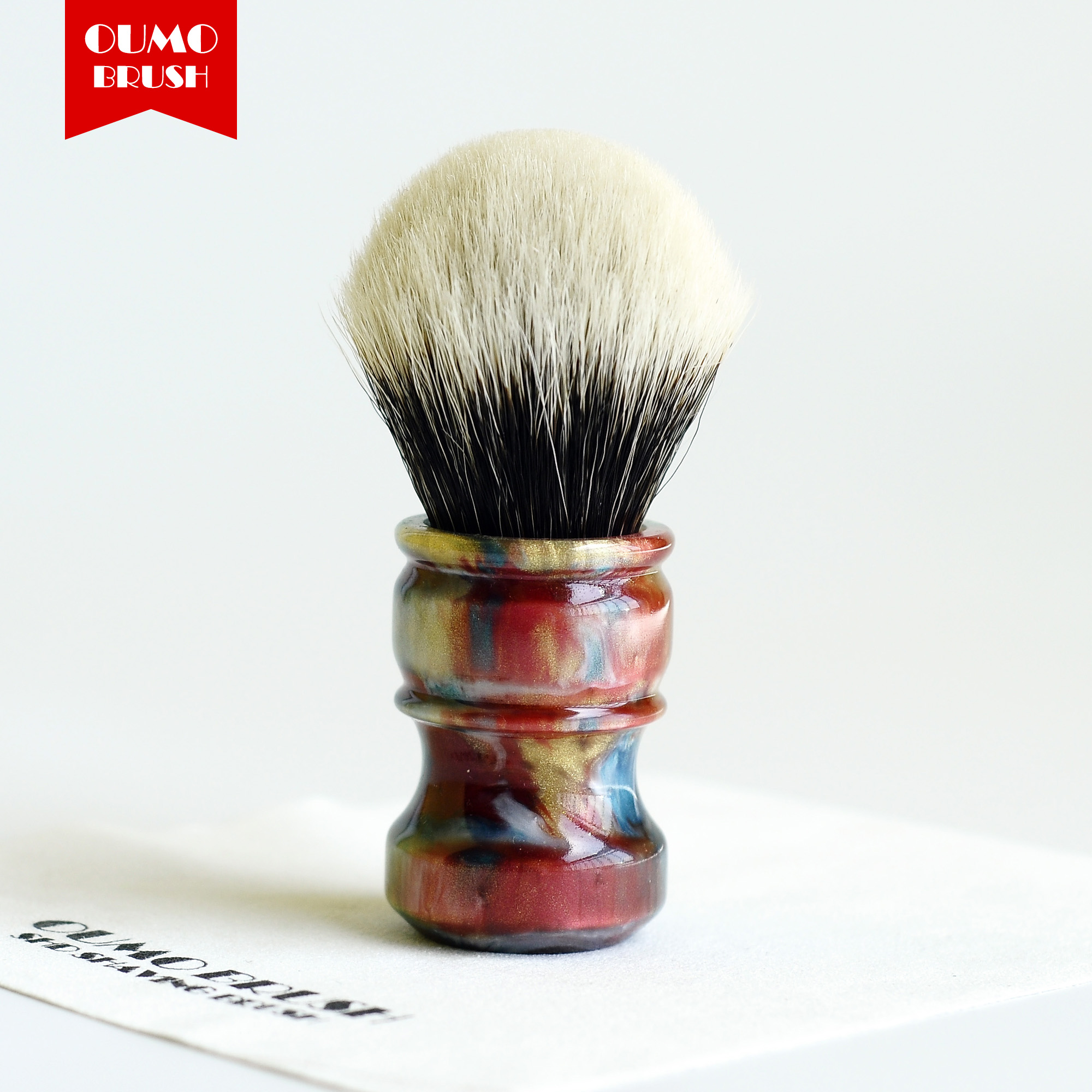 Image 2 - OUMO BRUSH  2019/8/1 CHUBBY  Art shaving brush with SHD bulb Manchuria badger knot gel city 26MM-in Shaving Brush from Beauty & Health