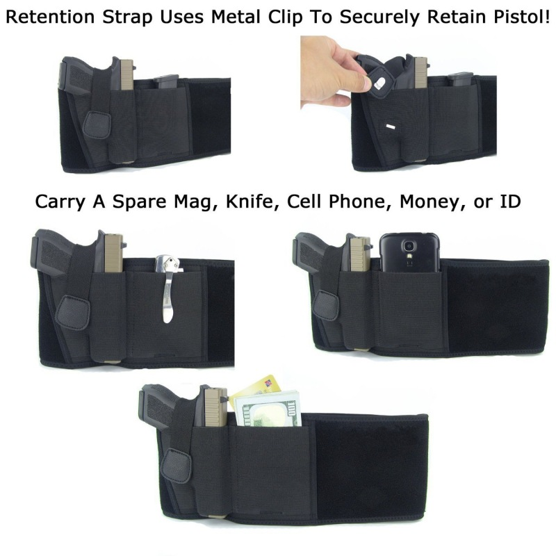 Tactical Pistol Holster Military Portable Hidden Holster Wide Belt Mobile Phone Holster Outdoor Hunting Shooting Defense Holster
