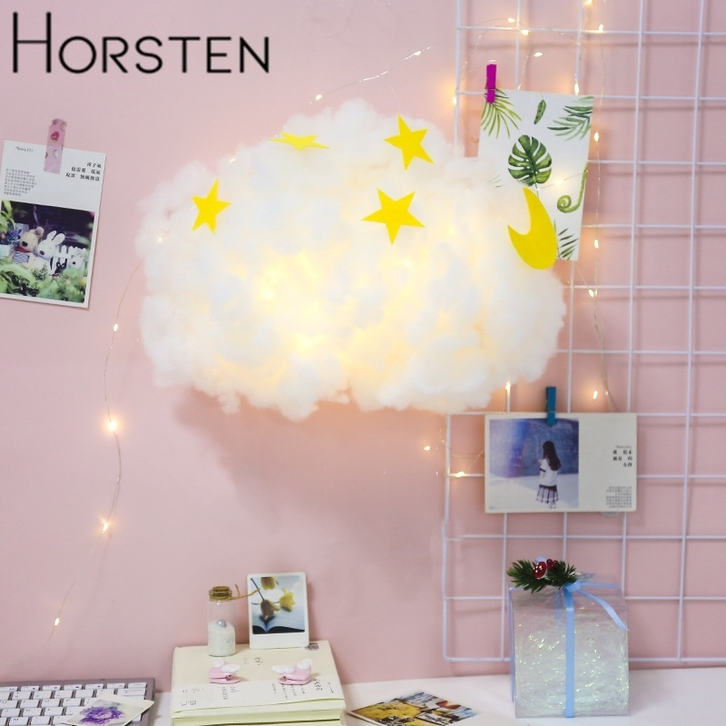 DIY Handmade Cotton Cloud Night Lamp Homemade Hanging Night Light For Bedroom Home Holiday Xmas Decor Light Birthday Gift