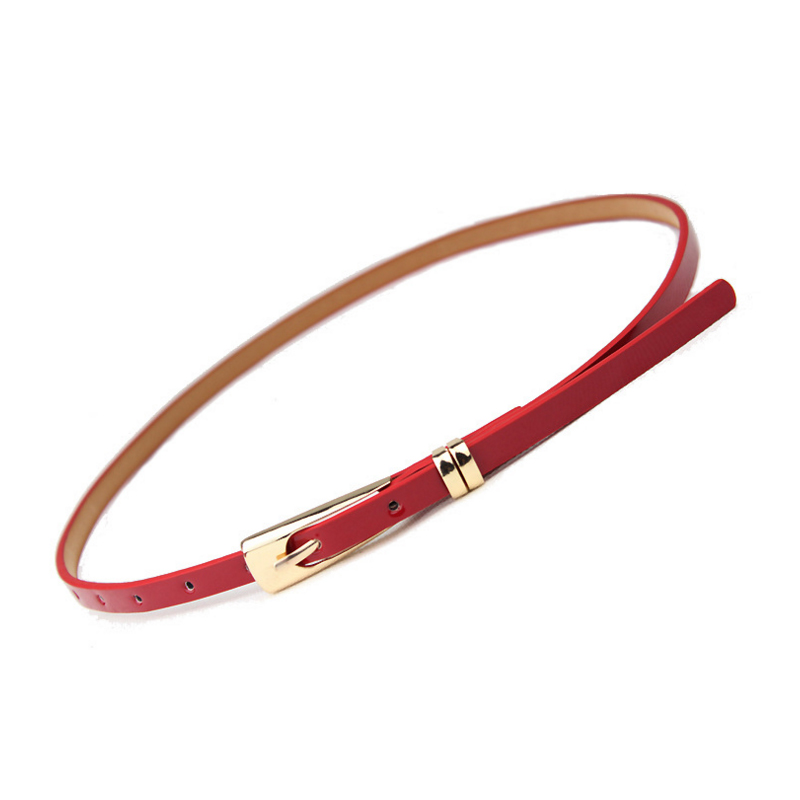 New Big-name Designer Simple Style Belt PU Patent Leather Long U-shaped Buckle Fine Ladies Belt  Luxury Brand  Belts For Women