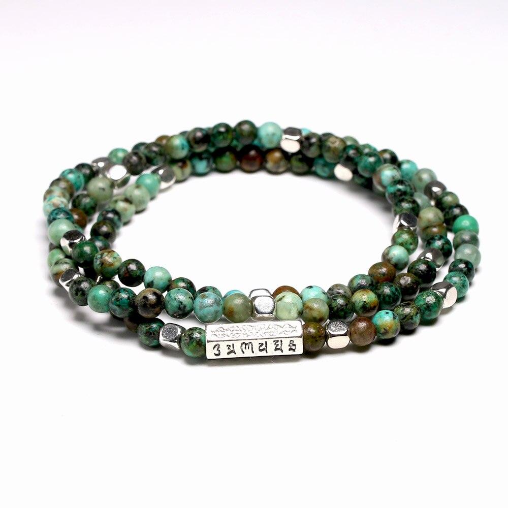 108 Mala Bracelets Tibetan Natural Stone African Turquoises Beads Bracelet Men OM Yoga 4mm Beaded Bracelets for Women Men