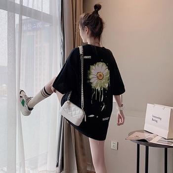 Camiseta holgada de gran tamaño, Tops informales de verano para mujer, novedad 2020, estilo Floral, estampado coreano, camiseta de manga corta Harajuku, camiseta femenina P660