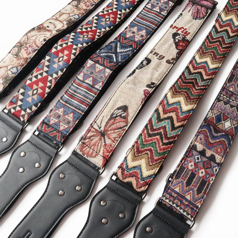 Adjustable Wide Electric Acoustic Bass Thermal Transfer Guitar Strap Leather Embossed Guitar Strap