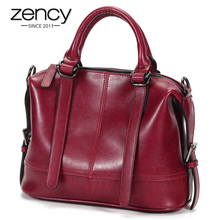 Zency Bolso de mano de piel auténtica para mujer, bandolera femenina de alta calidad, color negro y marrón, 100%