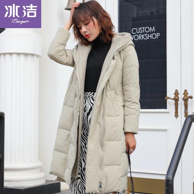 BG Женская длинная Съемная вязаная шапка Зимний пуховик корейский стиль свободный J90143318D