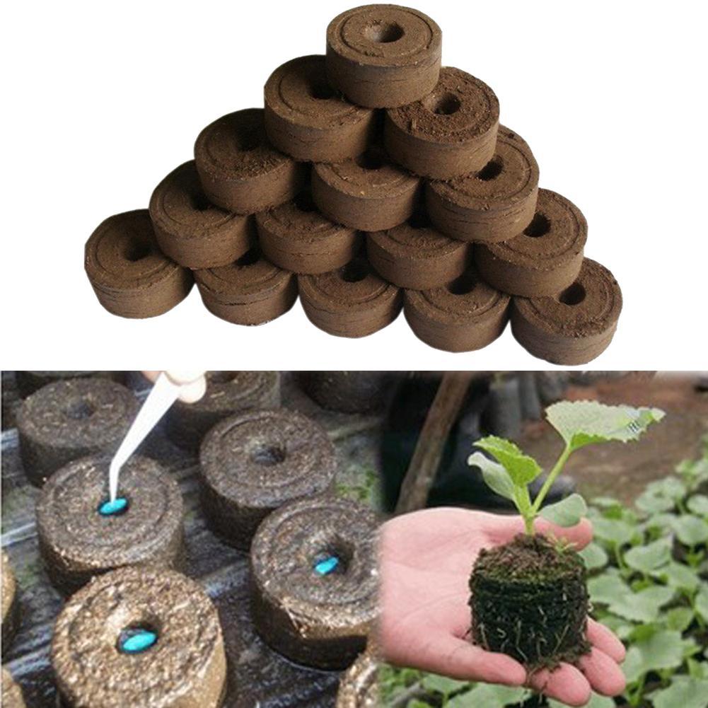 50pcs/pack 45mm Jiffy Peat Pellets Seedling Soil Block Maker Starting Plugs Seed Fertilizer Nutrient Block For Garden Supplies