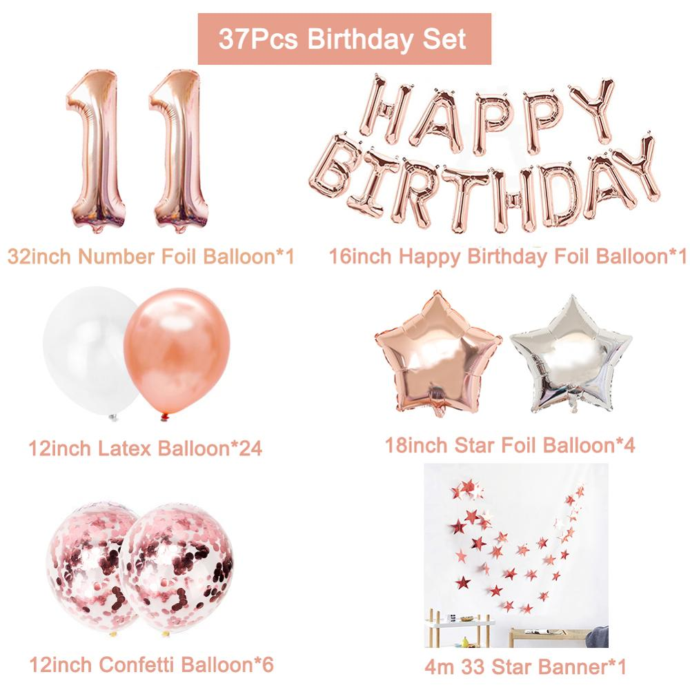 Image 2 - 37pcs 1st 1 2 3 4 5 6 7 8 9 10 18 21st 30 40 50 Years Happy Birthday Number Balloons Set Party Decorations Adult Kids Boy Girl-in Ballons & Accessories from Home & Garden
