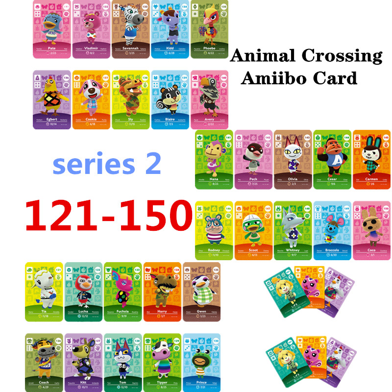 Animal Crossing Amiibo Card New Horizons For NS Games Amibo Switch/lite Amiibo Card NFC Welcome Cards Series 2 (121-150))