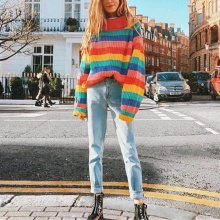 2019 Autumn Winter Turtleneck Rainbow Sweaters Women jumpers Fashion knitted clothes  striped oversized pullover female Top