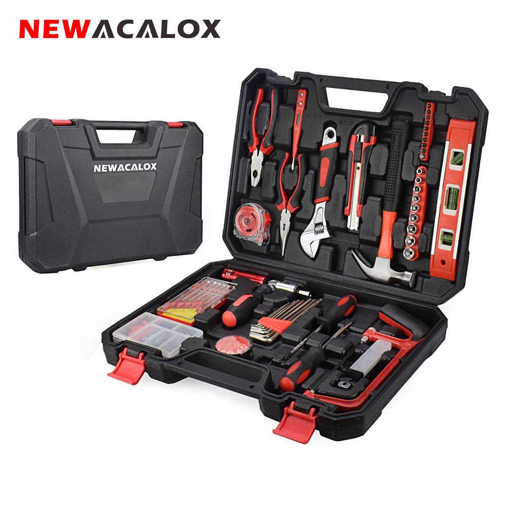 NEWACALOX 110PC outil à main ensemble clé à douille numérique Test crayon avec boîte à outils en plastique mallette de rangement ménage réparation main outil Kit