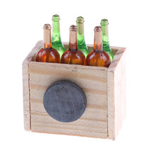 Miniature Doll House Accessories Mini 6 Wine Bottles With Wooden Frame 1:12 Dollhouse Kitchen Decor Toys Doll Furniture(China)