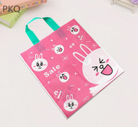 100pcs Pink Rabbit Cute Plastic Bag With Handle Children gift bags For Toy/Cloth/Candy/Party Favor Packaging Bag