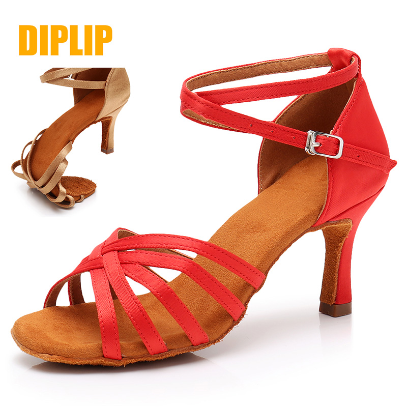 DIPLIP Salsa Latin Dance Shoes For Women Girls Tango Ballroom Dance High Heels Soft Dancing Shoes 5/7cm Ballroom Dance Sandals