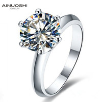 AINOUSHI Classic 2ct Round Cut Engagement Ring for Women Sona Simulated Diamond 925 Sterling Silver Promise Wedding Rings Band