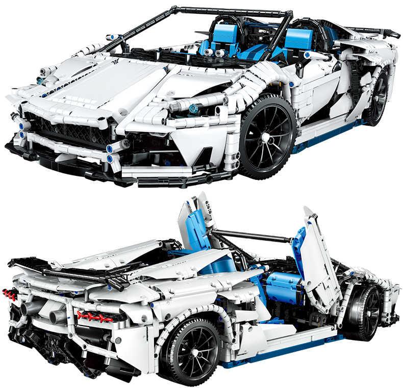 QL0430 гоночный автомобиль al MOC-17698 Супер спортивный автомобиль Aventador SVJ родстер 1:8 строительные блоки, кирпичные блоки, детские игрушки, рождественские подарки