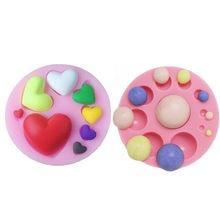 Moule à gâteau en Silicone en diamant, cœur d'amour, 3D, perles, Fondant, Mousse, chocolat, outils de décoration