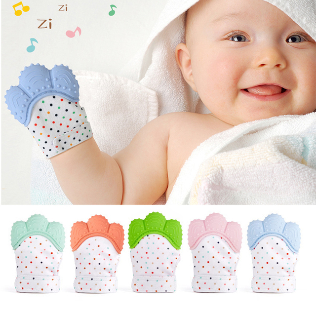 Baby Mitts Silicone Teether Gloves Squeaky Grind Teeth Oral Care Molar Mitten Newborn Chewable Nursing Mittens Teether Thumb Toy