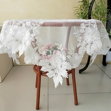 European Lace Fabric Seiko Flower Embroidery Tablecloth Dust Cloth Balcony Small Round Table Tapete Christmas Wedding Decoration