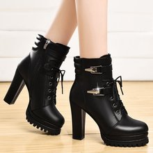 Women 10 cm platform high heel boots women ankle boots for women high heels sexy motorcycle boots platform shoes bota feminina