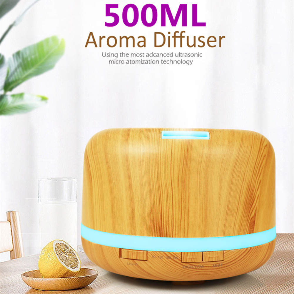 Aroma Essential Oil Diffuser Ultrasonic Air Humidifier 7 Color Changing LED Lights 500ml Aromatherapy Machine With Wood Grain