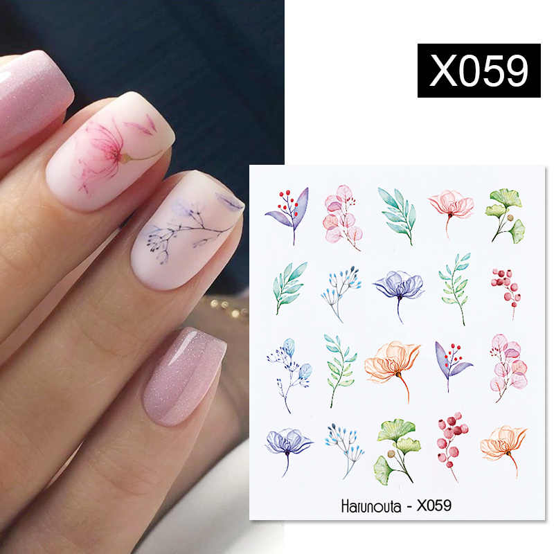 1Pc Spring Water Nail Decal And Sticker Flower Leaf Tree Green Simple Summer DIY Slider For Manicuring Nail Art Watermark