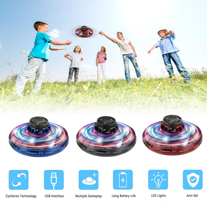 Flynova Inductive Aircraft Antistress Hand Mini Flying Toy Rotator Drone UFO Led Finger Spinner Rotary Child Christmas Gift