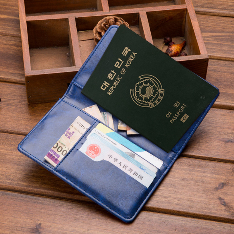 Travel Accessories Men Passport Cover Holder Portable PU Leather Storage Organizer ID Card Wallet Case RFID Business Credit Card