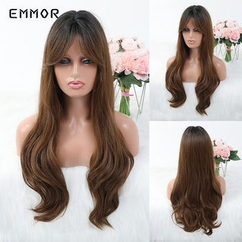 EMMOR Long Natural Wave Ombre Dark Brown Hair Wigs with Fringe Heat Resistant Cosplay Daily  Synthetic Wig for White/Black Women emmor natural wave synthetic hair wigs for women high temperature cosplay costume party daily use ombre dark brown wig