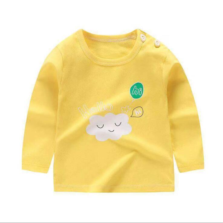 От 6 месяцев до 5 лет унисекс; сезон осень-зима; хлопковая футболка с длинными рукавами и героями мультфильмов; футболки для маленьких мальчиков и девочек; детская повседневная одежда; одежда с круглым вырезом - Цвет: Q46