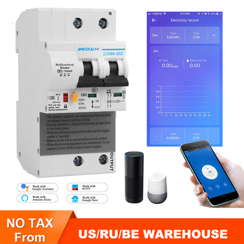 The second generation 2p WiFi Smart Circuit Breaker with Energy monitoring and meter function for Amazon Alexa and Google ewelink 2p wifi energy monitoring rcbo circuit breaker overload short current leakage protection with alexa and google home