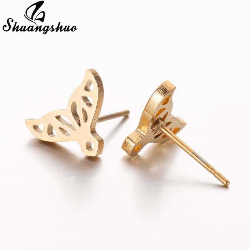 Shuangshuo Boho Mini Earrings Mickey Stainless Steel Stud Earrings for Women Girls Kids Butterfly Wave Earings Geometric Jewelry