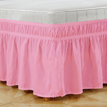 Hotel Elastic Bed Skirt Solid Colors Elastic Bed Skirts Bed Covers without Bed Surface Dust Ruffle Pastoral Style Queen King #/(China)