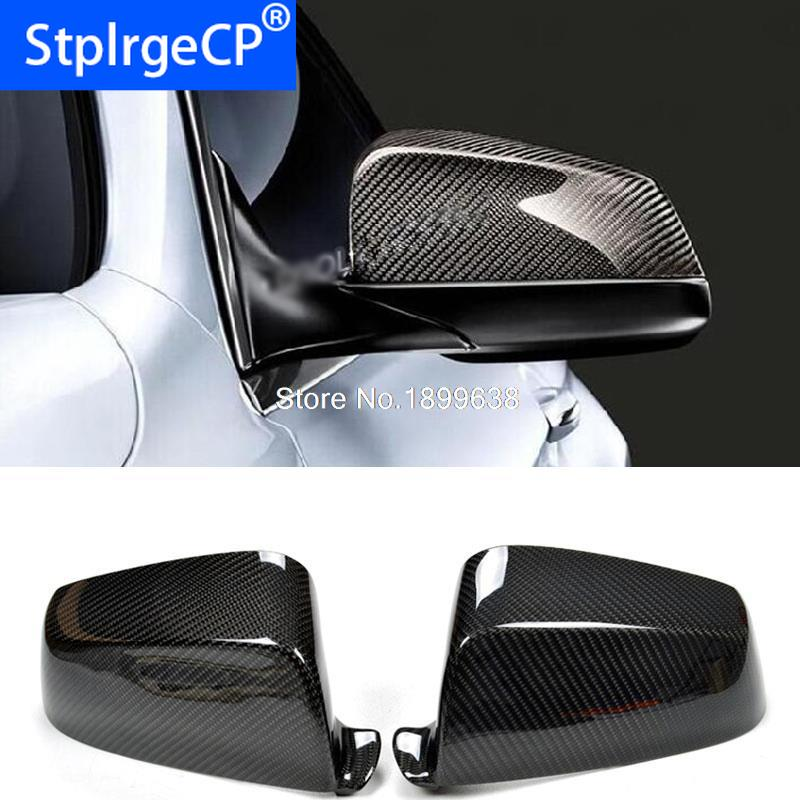 Pair Carbon Fiber Door Side Mirror Cover Caps Fit For BMW F10 2014-2016 USA UA