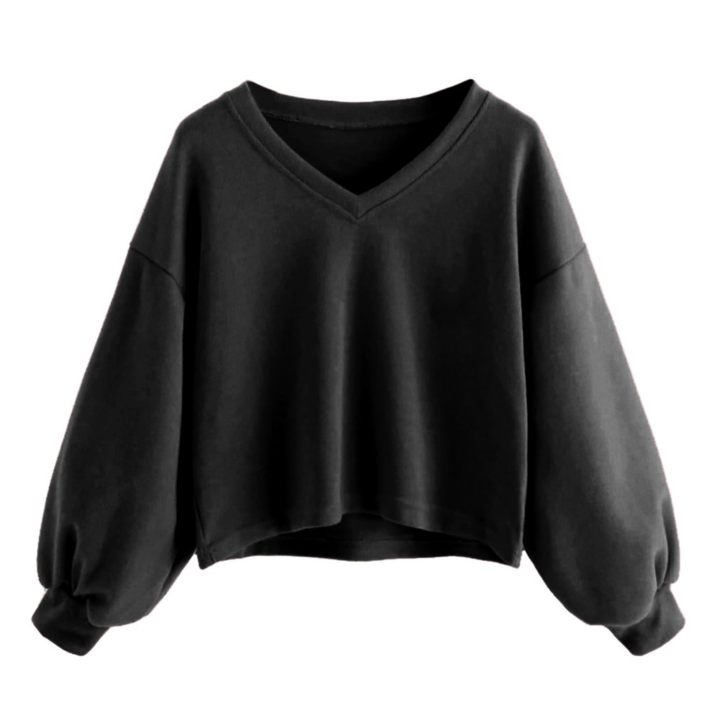 Fashion Women Sweatshirt Solid Casual Drop Shoulder Lantern Sleeve Pullover Tops Cropped V-Neck Tracksuit moleton feminino #30