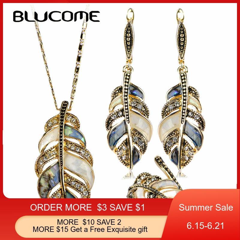 Blucome Abalone Shell Conjuntos de Jóias Para As Mulheres Misturar Cores Shell Strass Flor Do Vintage Folhas Oscila o Brinco Conjunto Anel Colar