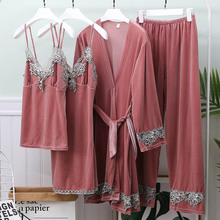 Sleepwear Robe Gown Nightwear Lace Velvet Home-Clothes Sexy for Female Set Warm Gold