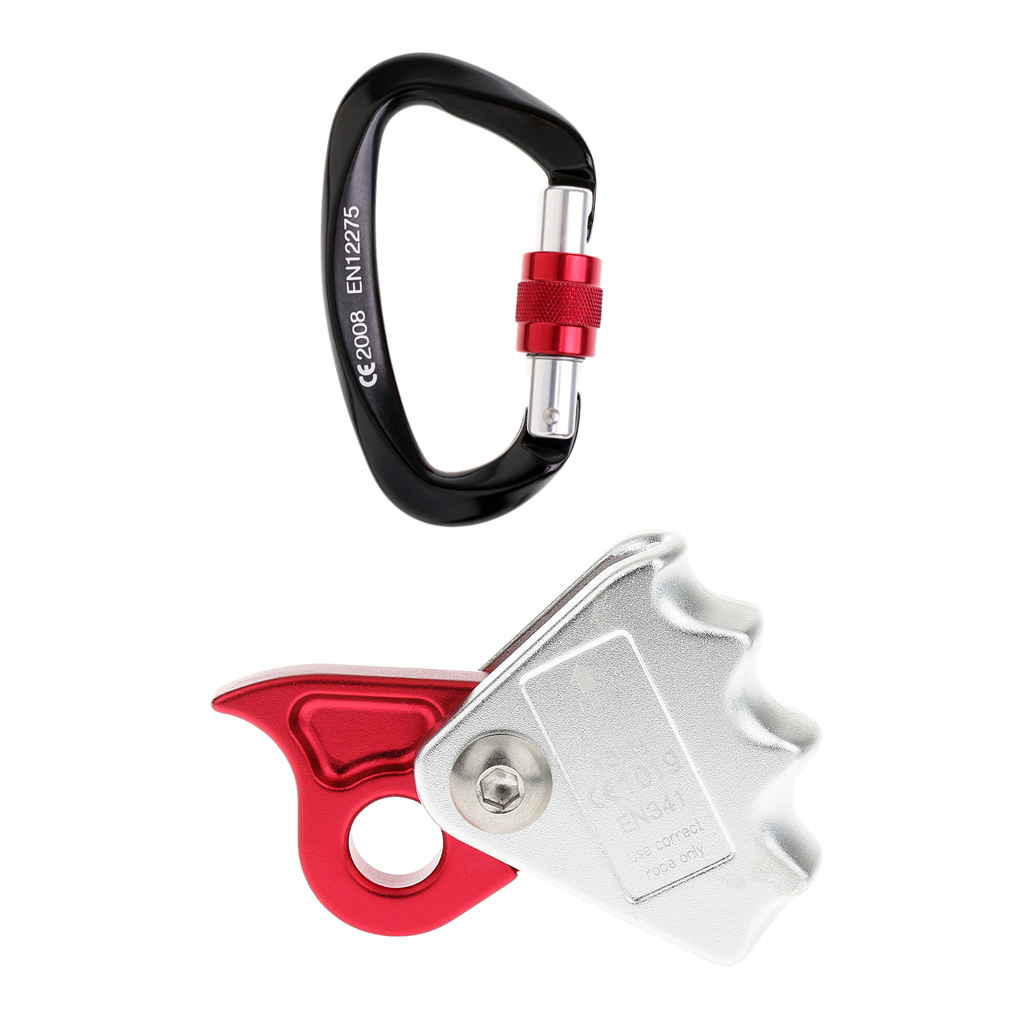 15KN Rock Climbing Rescue Downhill Abseiling Rope Grab Protecta w// Carabiner